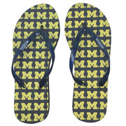 Forever Collectibles University of Michigan Ladies All-Over M Flip Flops