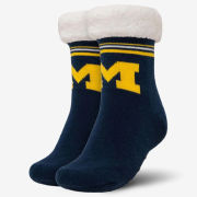 Forever Collectibles University of Michigan Women's Navy Sherpa-Lined Footy Slipper Socks