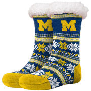 Forever Collectibles University of Michigan Women's Navy Fair Isle Sherpa-Lined Footy Slipper Socks