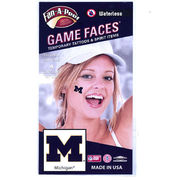 Game Faces University of Michigan Navy Block M Temporary Tattoos