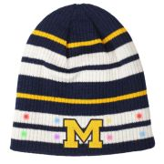 Valiant University of Michigan Navy/ Yellow/ White Striped LED Light-Up Beanie Knit Hat