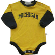 Third St. University of Michigan Infant Yellow/ Navy Long Sleeve Onesie