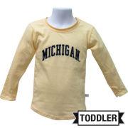 Third Street University of Michigan Toddler Butter Yellow Long Sleeve Lightweight Tee
