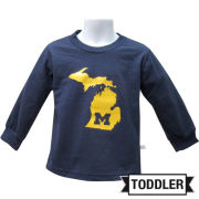 Third Street University of Michigan Toddler Navy ''State of Michigan'' Long Sleeve Tee