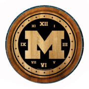 Timeless Etching University of Michigan 24'' Wine Barrel Clock
