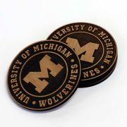 Timeless Etchings University of Michigan Alderwood Etched Coaster Set [Set of 4]