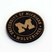 Timeless Etchings University of Michigan Round Alderwood Etched Magnet