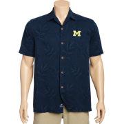 Tommy Bahama University of Michigan Navy Luau Floral Silk Camp Shirt