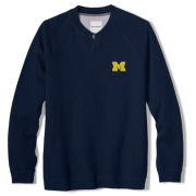 Tommy Bahama University of Michigan Navy Long Sleeve Sunset Slub Henley Shirt