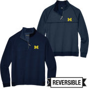 Tommy Bahama University of Michigan Fairwary Flip Reversible 1/2 Zip Pullover