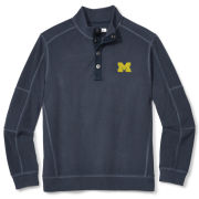 Tommy Bahama University of Michigan Navy Fleecebender 1/4 Snap Collar Sweatshirt
