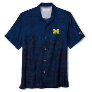Tommy Bahama University of Michigan Navy Floral Fade Camp Shirt