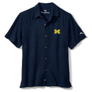 Tommy Bahama University of Michigan Navy Al Fresco Tropics Silk Camp Shirt