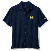 Tommy Bahama University of Michigan Navy Al Fresco Tropics Silk Camp Shirt