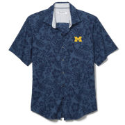 Tommy Bahama University of Michigan Navy Perfect Score Seersucker Floral Shirt