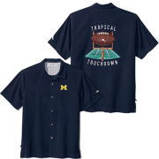 Tommy Bahama University of Michigan Blue Note Tropical Touchdown Camp Shirt