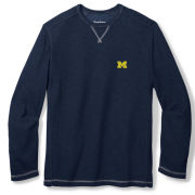 Tommy Bahama University of Michigan Navy Barrier Beach Crewneck Sweatshirt