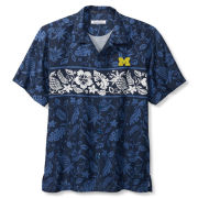 Tommy Bahama University of Michigan Navy Pina Plazzo Silk Camp Shirt