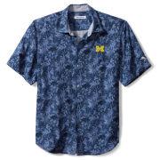 Tommy Bahama University of Michigan Jungle Shade Silk Camp Shirt