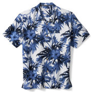 Tommy Bahama University of Michigan Harbor Island Hibiscus Silk Camp Shirt