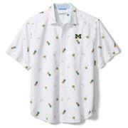 Tommy Bahama University of Michigan Flamingo Tango White Seersucker Camp Shirt