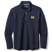 Tommy Bahama University of Michigan Navy Tidal Stripe IslandZone 1/2 Zip Pullover