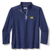 Tommy Bahama University of Michigan Heather Navy On Deck Performance 1/2 Zip Pullover