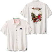 Tommy Bahama University of Michigan White Tropic Zone Camp Shirt