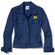 Tommy Bahama University of Michigan Women's Navy Two Palms Linen Raw Edge Jacket