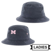 '47 Brand University of Michigan Ladies Navy Bucket Hat with Pink Block M