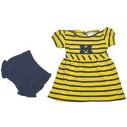 Two Feet Ahead University of Michigan Infant Striped Dress with Bloomers
