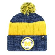 '47 Brand University of Michigan Navy/Yellow ''Holcomb'' Pom Cuffed Knit Hat