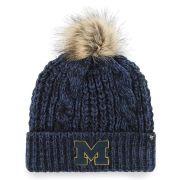 '47 Brand University of Michigan Women's Navy ''Meeko'' Cuffed Knit Hat with Pom