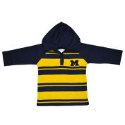 Two Feet Ahead University of Michigan Toddler Rugby Striped Long Sleeve Hooded Tee