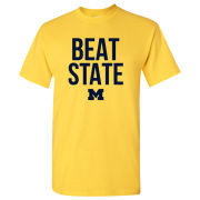 University of Michigan Football Yellow ''Beat State'' Tee