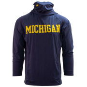 UGP University of Michigan Heather Navy Long Sleeve Hooded Performance Tee with Built-In Neck Gaiter