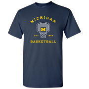 University of Michigan Basketball Navy Backboard/Net Tee