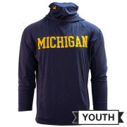 UGP University of Michigan Youth Heather Navy Long Sleeve Hooded Performance Tee with Built-In Neck Gaiter