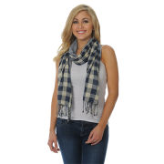 UG Apparel University of Michigan Navy Plaid with Yellow Stripe Fashion Scarf