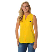 UG Apparel University of Michigan Ladies Yellow Button Down Tunic Tank Top