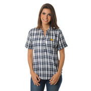 UG Apparel University of Michigan Ladies Short Sleeve Plaid Top