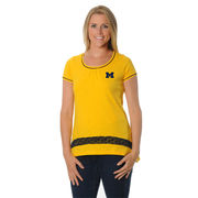 UG Apparel University of Michigan Women's Crochet Hem Slub Tee
