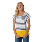 UG Apparel University of Michigan Ladies Game Day Striped Dolman Tee