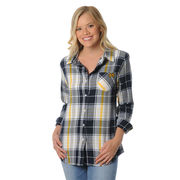 UG Apparel University of Michigan Ladies Boyfriend Plaid Top [Misses & Plus Sizes]
