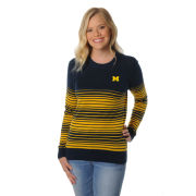 UG Apparel University of Michigan Women's Navy and Yellow Striped Sweater