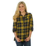 UG Apparel University of Michigan Boyfriend Plaid Flannel Top