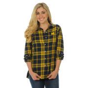 UG Apparel University of Michigan Boyfriend Plaid Flannel Top