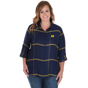 UG Apparel University of Michigan Women's Navy Boyfriend Satiny Plaid Shirt