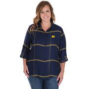 UG Apparel University of Michigan Women's Navy Boyfriend Satiny Plaid Shirt