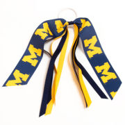 USA Sport Bows University of Michigan Navy/Yellow Block ''M'' Pony Tail Streamer